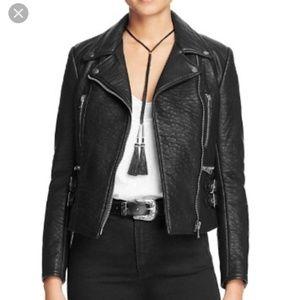 Free People Soho Moto Vegan Black Zipper Jacket